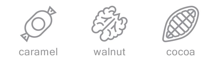 caramel walnut and cocoa coffee notes