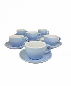 blue coloured cappuccino cups