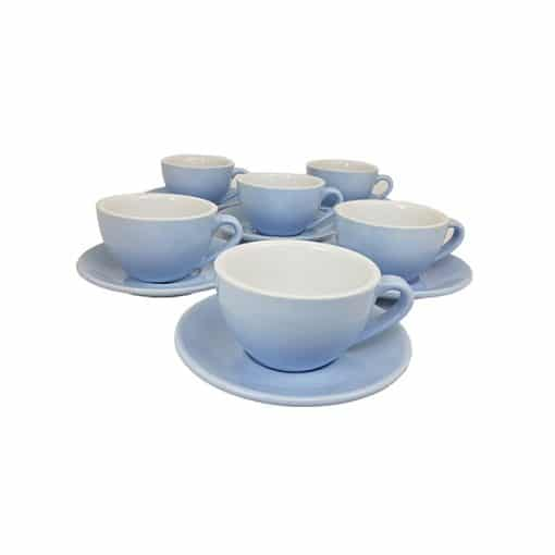 large cappuccino cups in blue