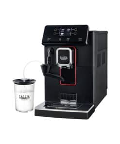 black gaggia magenta coffee machine with milk
